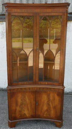 Mahogany Concave Fronted Standing Double Corner Display Cabinet