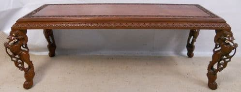 Oriental Carved Mahogany Long Coffee Table