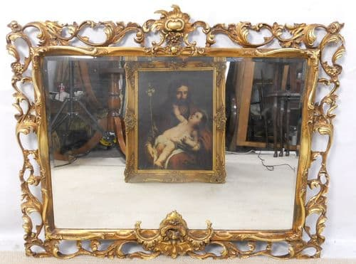 Ornate Pierced Gilt Wood Hanging Wall Mirror