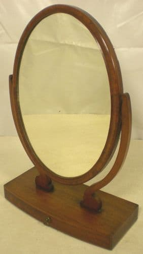 Oval Mahogany Dressing Mirror on Stand