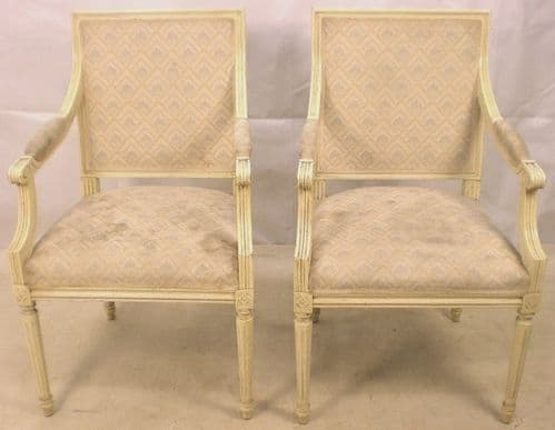 Pair Decorated Salon Armchairs