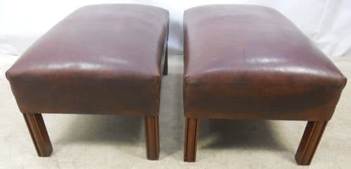 Pair Georgian Style Leather Stools / Seats