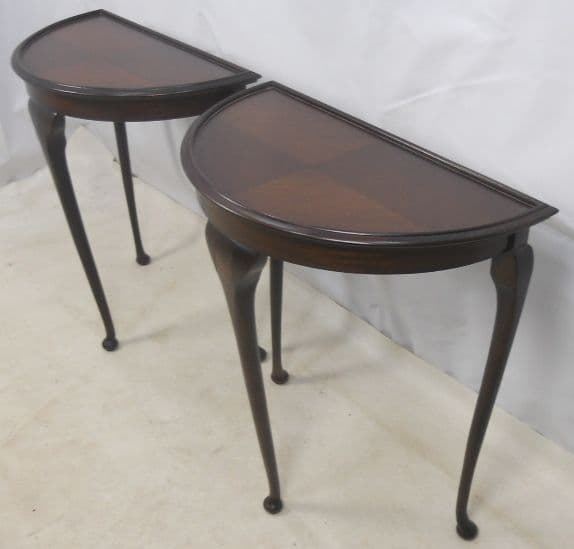 Pair Mahogany Bowfront Console Tables - SOLD