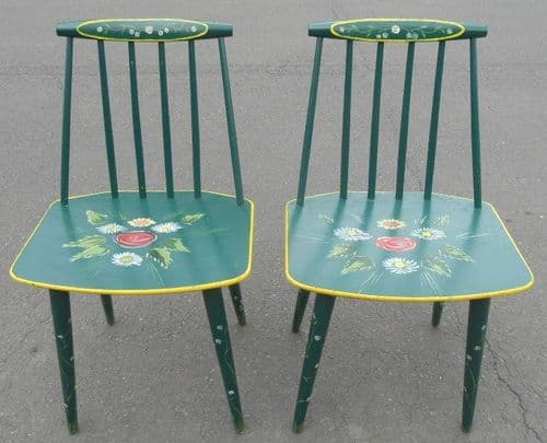 Pair Painted Barge Ware Style Kitchen Chairs