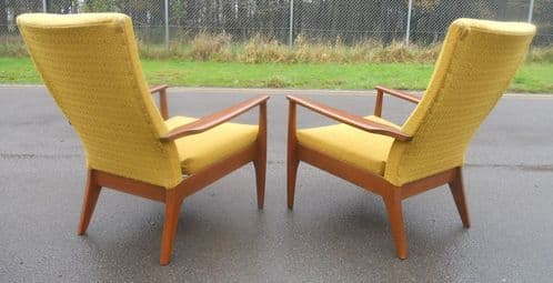 Pair Parker Knoll Retro Upholstered Fireside Armchairs