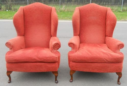 Pair Queen Anne Style Upholstered Wing Fireside Armchairs