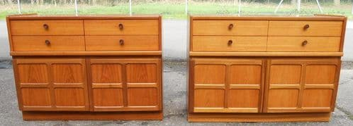 Pair Teak Retro Side Cabinet Cupboards by Nathan