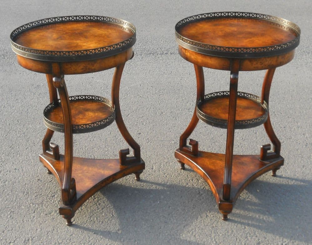 Pair Walnut Three Tier Centre Table Stands