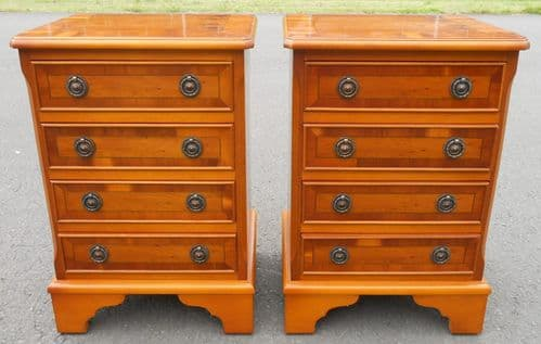 Pair Yew Small Chest of Drawers