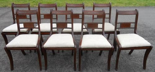 Set of Eight Mahogany Regency Style Dining Chairs