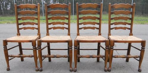 Set of Four Elm Ladderback Rush Seat Dining Chairs