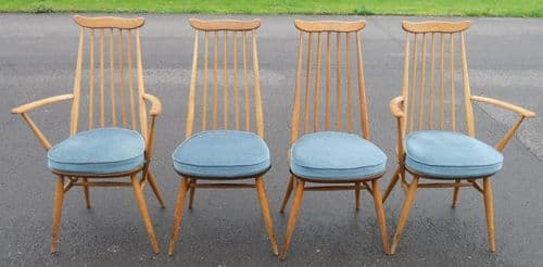 Set of Four Ercol Light Elm Highback Dining Chairs