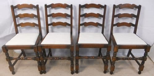 Set of Four Ladderback Stretcher Front Dining Chairs