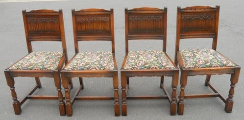 Set of Four Oak Dining Chairs by Old Charm