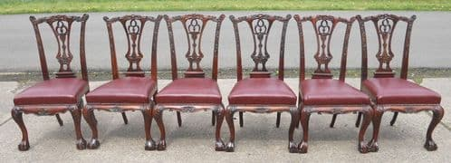 Set of Six Chippendale Style Carved Mahogany Dining Chairs