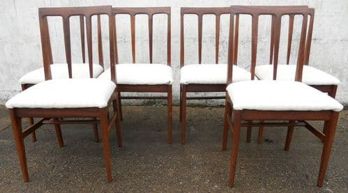 Set of Six Teak 1960's Upholstered Dining Chairs