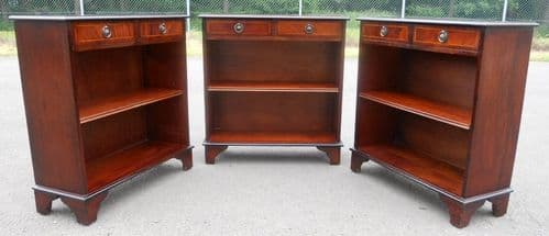 Set of Three Mahogany Open Bookcase Cabinets