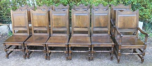 Set of Twelve Jacobean Style Oak Dining Chairs