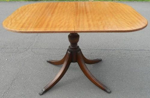 Small Pedestal Mahogany Extending Dining Table to Seat  Six