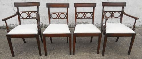 SOLD -Antique Georgian Style Set of Four, Two Carver & Two Single Dining Chairs