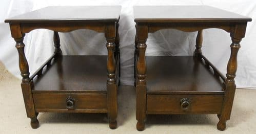 SOLD - Pair Two Tier Oak Coffee / Lamp Tables