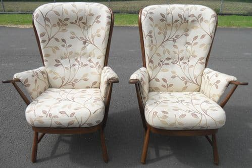 SOLD - Pair Upholstered Armchairs by Ercol