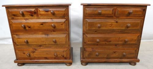 SOLD - Pair Victorian Style Dark Pine Small Chest of Drawers