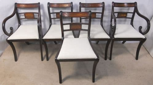 SOLD - Set of Five Mahogany Dining Chairs in the Regency Style