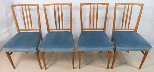 SOLD -Set of Four 1960's Retro Light Wood Dining Chairs by Gordon Russell