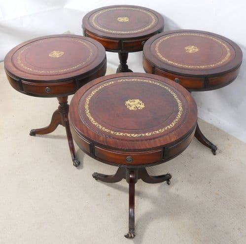 SOLD - Set of Four Leather Top Pedestal Drum Wine Tables