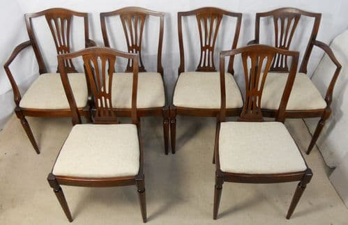 SOLD - Set of Six Mahogany Dining Chairs with Upholstered Seats