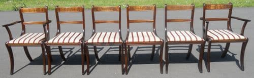 SOLD - Set of Six Regency Style Brass Inlaid Dining Chairs