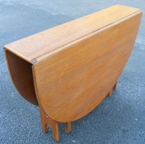 SOLD - Teak 1960's Narrow Dropleaf Dining Table to Seat Six