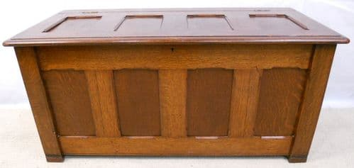 Solid Oak Panelled Blanket Chest