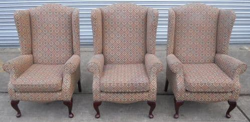 Three Wingback Fireside Armchairs by Jade - SOLD