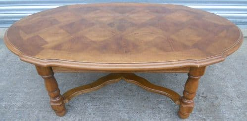 Victorian Style Shaped Walnut Large Coffee Table