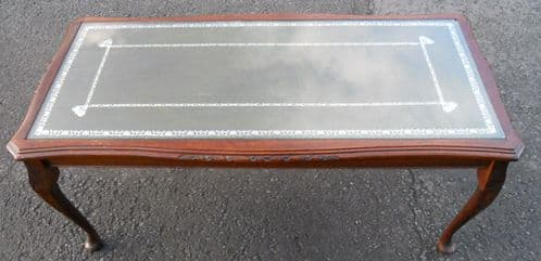 Walnut Framed Long Leather Top Coffee Table - SOLD