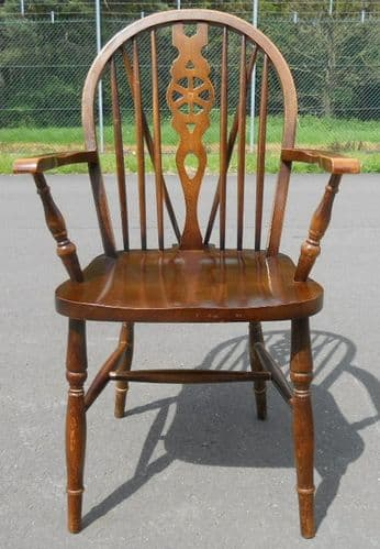 Windsor Elm Wheelback Carver Armchair