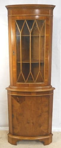 Yew Bowfront Standing Corner Cabinet - SOLD
