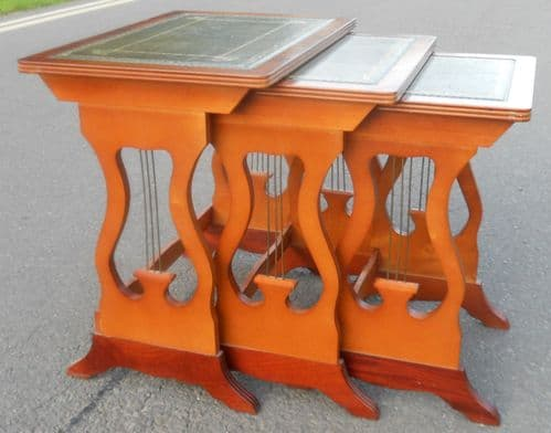 Yew Nest of Three Lyre End Coffee Tables