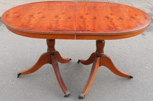 Yew Wood Extending Twin Pillar Dining Table to Seat Six - SOLD