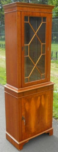 Yew Wood Single Door Bookcase Cabinet