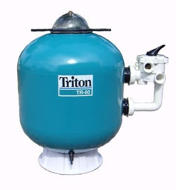 02. Triton and Atika Side Mount Swimming Pool Sand Filter - Old Type Pressure Gauge - Rear Entry