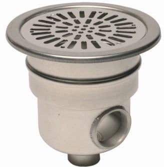 """Stainless Steel Main Drain 1.5"""" base - 2"""" side outlet"""