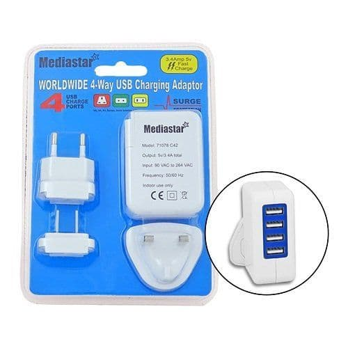 4 Way USB Charger Plug (Worldwide)