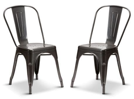 2 Graphite Grey Industrial Tolix Style Dining Chairs 1/2 Price Deal PRE ORDER Due 10 Nov