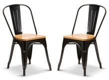 2 Matt Black With Oak Seat Metal Industrial Tolix Style Dining Chairs 1/2 Price Deal