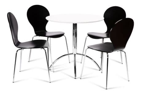 Kimberley Dining Set White & 4 Black Chairs Sale Now On Your Price Furniture