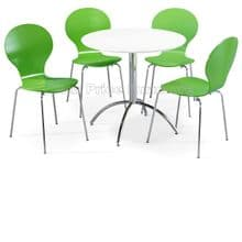Kimberley Dining Set White Table & 4 Green Chairs 1/2 Price Deal