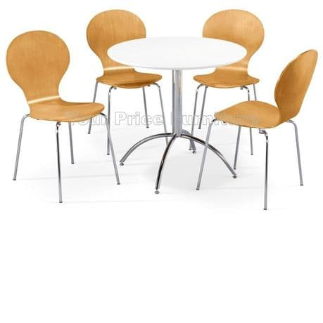Kimberley Dining Set White Table & 4 Natural Chairs Sale Now On Your Price Furniture